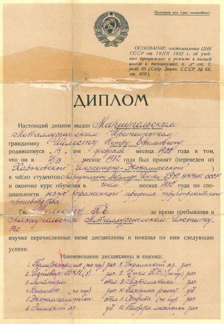 Диплом Петра Шелеста
