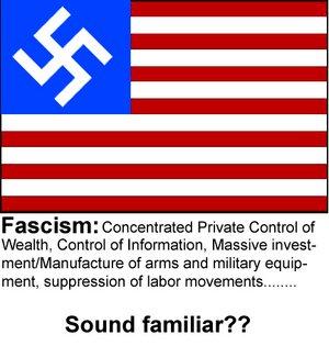 Фашизм - це концентрований в приватних руках контроль над ресурсами, контроль над інформацією, масивні інвестиції та виробництво зброї й військового обладнання, придушення робітничих рухів... Звучить знайомо?
