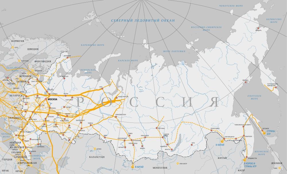 Газопроводы россии схема